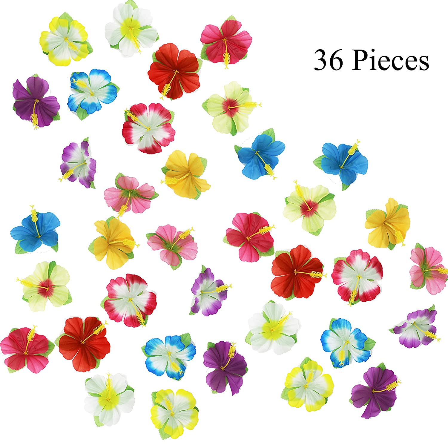 100 Hula Girl Hibiscus Flowers Artificial Island Hair Hawaiian Party Decoration