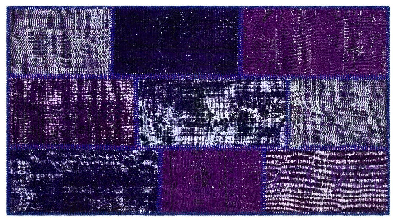 Bespoky パッチワークユニーク 手織 ラグ 紫の 小さいサイズ 80 X 150 Cm B07HL1W16B