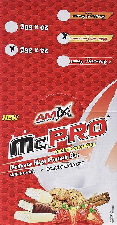 Amix Max-Pro, Barrita Energética con Sabor a Galleta, Paquete de 20 x 60 g