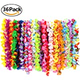 Etyhf 36 Pack Hawaiian Ruffled Simulated Silk Flower Leis Hawaiian Necklace for Luau Party Home Decoration Supplies and Favors