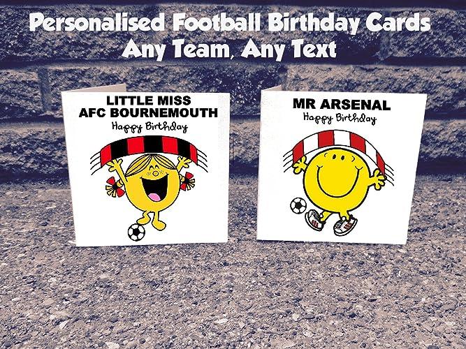 Personalised Any Football Team Birthday Card Amazoncouk Handmade