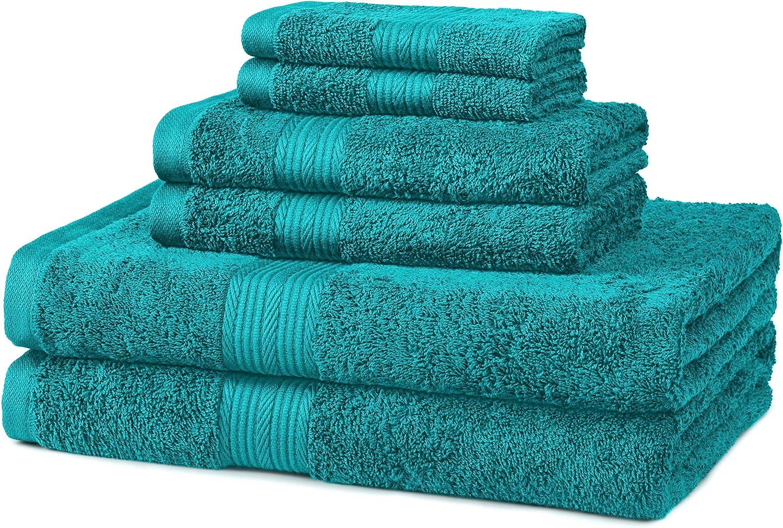 Amazon Basics 6 Piece Fade Resistant Cotton Bath Towel Set Teal Home Kitchen
