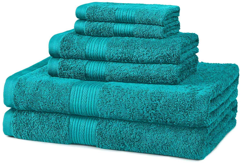 AmazonBasics Fade-Resistant Towel Set 6-Piece, Teal