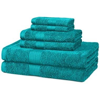 AmazonBasics Fade-Resistant Towel Set, 6-Piece, Teal