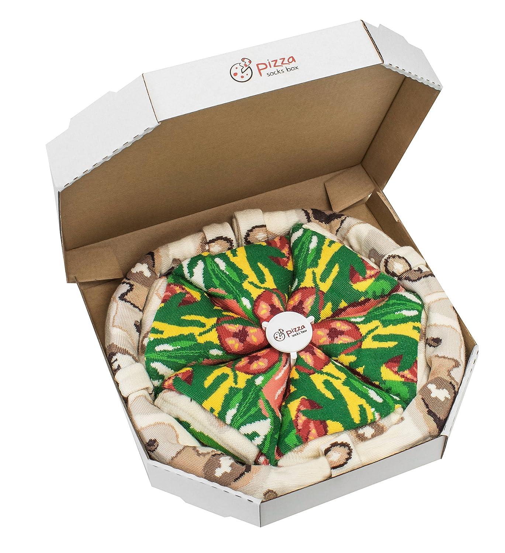Pizza Socks Box - Italiana - 4 paia di CALZINI Divertenti di COTONE, Originali e Unici - REGALO perfetto - Gadget Colorato| per Donna e Uomo, EU 36-40, 41-46, Prodotto in Europa