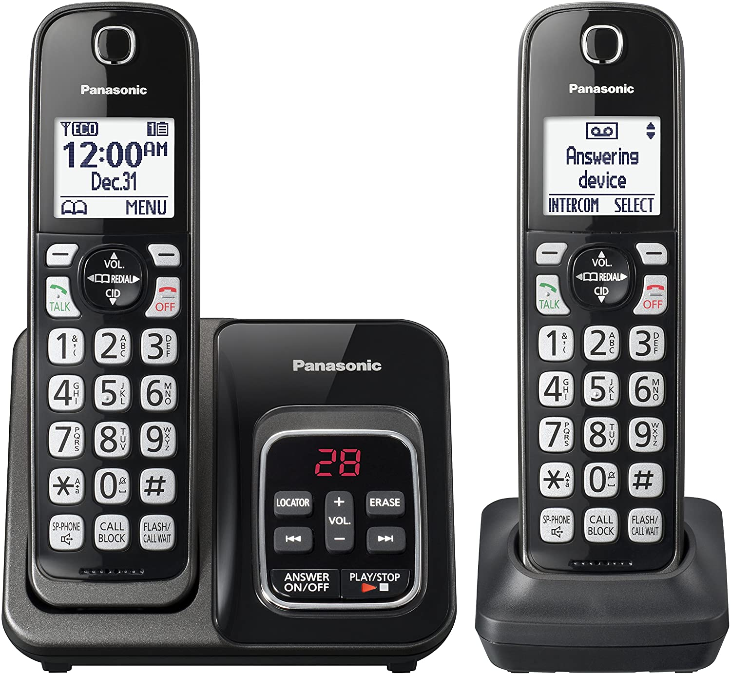 PANASONIC Expandable Cordless Phone System with Link2Cell Bluetooth, Voice Assistant, Answering Machine and Call Blocking - 2 Cordless Handsets - KX-TGD562M (Metallic Black)