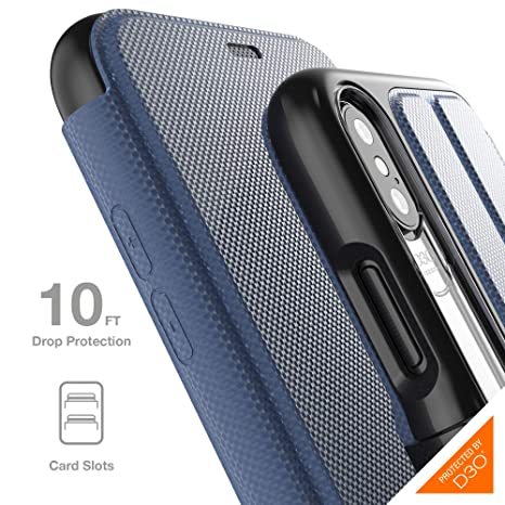 0ff664f743898 Gear4 Oxford Folio Case with Advanced Impact Protection [ Protected by D3O  ], Stand Function, Card Slots, Slim, Tough Design Compatible with iPhone ...