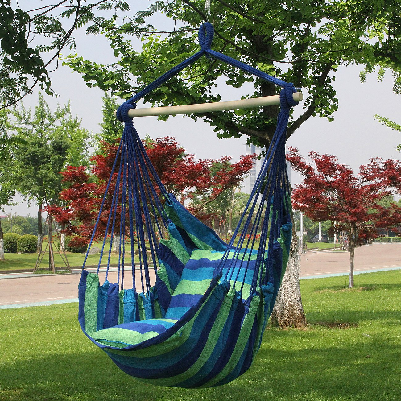 Amazon.com : Sorbus Hanging Rope Hammock Chair Swing Seat For Any Indoor Or  Outdoor Spaces  Max. 265 Lbs  2 Seat Cushions Included : Garden U0026 Outdoor