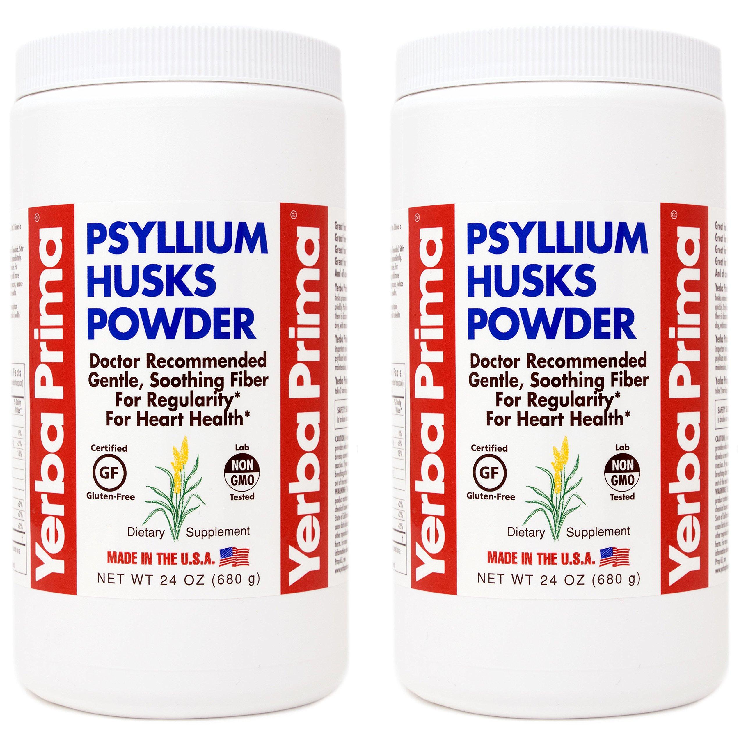 Yerba Prima Psyllium Husks Powder - 24 oz (Pack of 2) - Unflavored - Fine Ground - Fiber Supplement by Yerba Prima