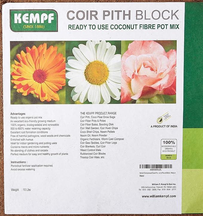 Amazon Kempf Compressed Coco Fiber Growing Potting Mix 10