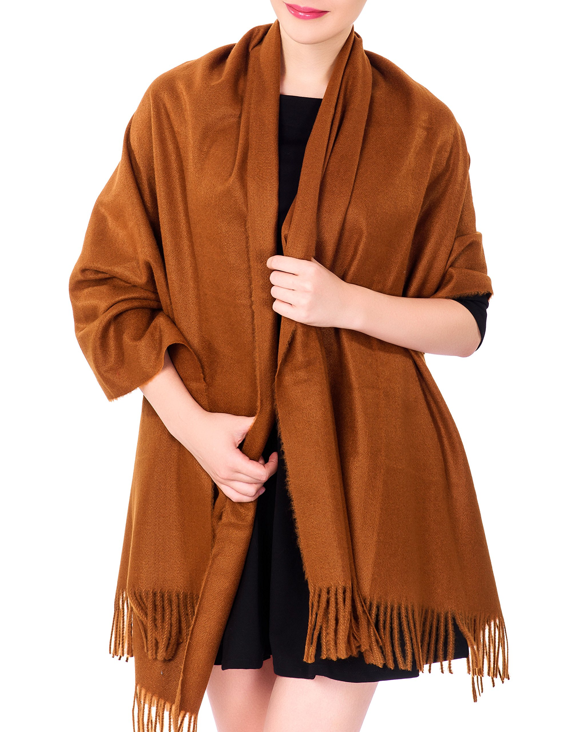 Ideal Gift for Women Cashmere Feel Large Blanket Scarf Evening Wrap Sugar Brown (Gift Box)