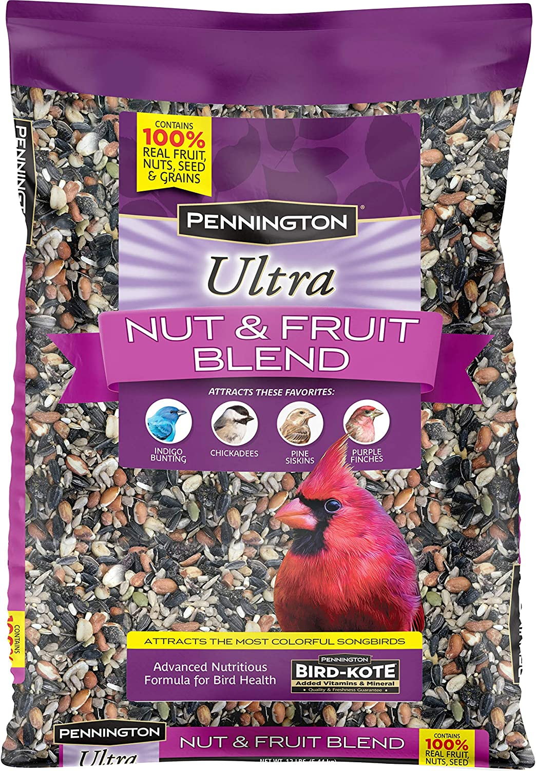 Pennington Pack of 2 Ultra Fruit & Nut Blend Wild Bird Seed and Feed, 12 lbs