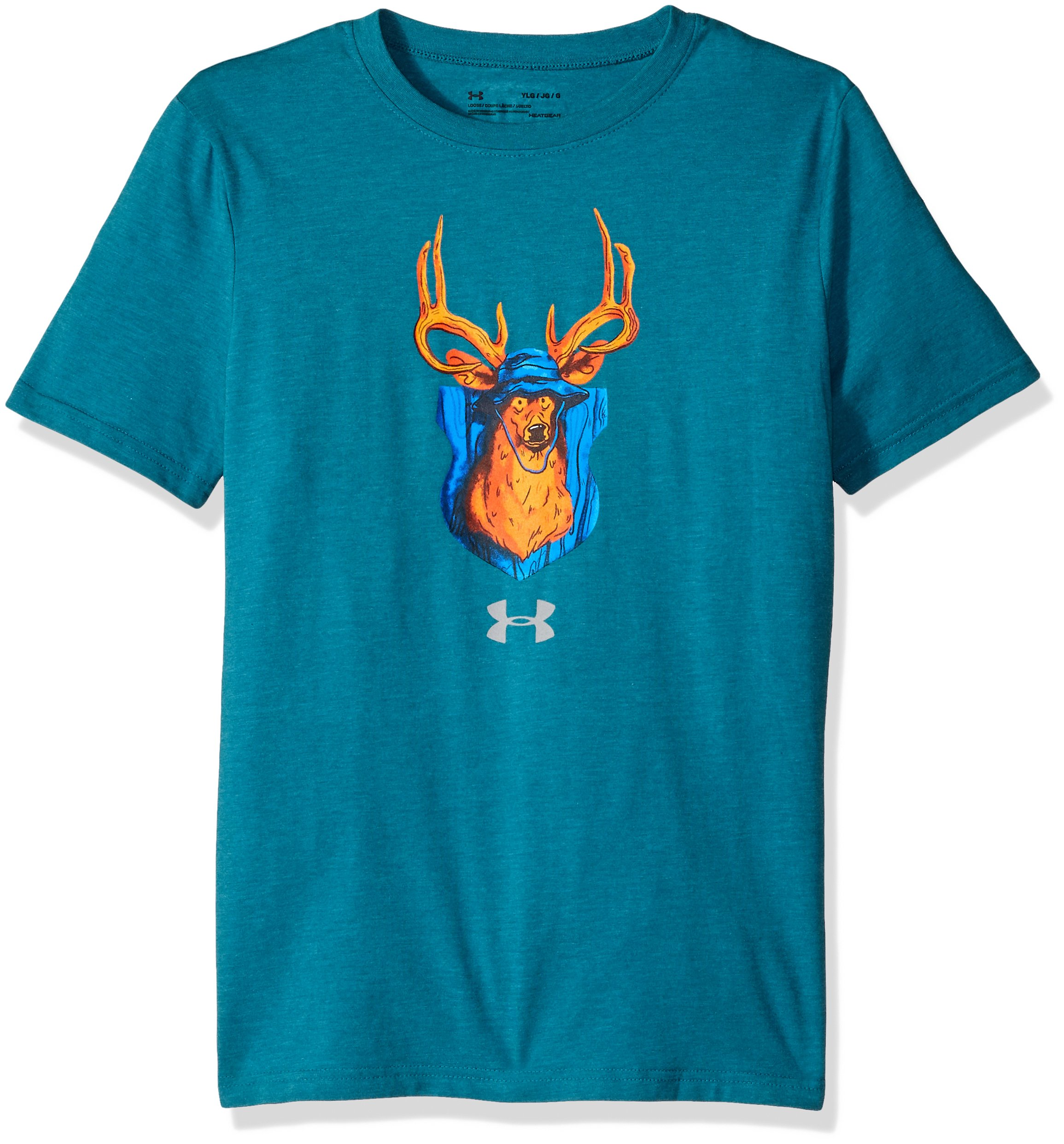 Under Armour Boys' Trophy Collection #2 T-Shirt,Bayou Blue Medium He (954)/Steel, Youth X-Large by Under Armour