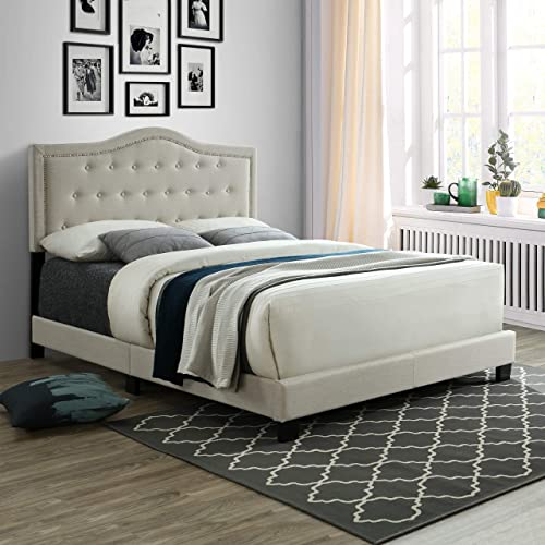 Queen Bed Frame, Upholstered Platform Bed with Tufted Headboard, Wood Slat Support, Linen Fabric and Box Spring Needed, Queen Size, Beige