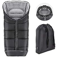 Zamboo Sacco Invernale Universale per passeggino e carrozzina | Protezione antiscivolo, morbido pile termico, cappuccio, strisce riflettenti, borsa | Nero grigio