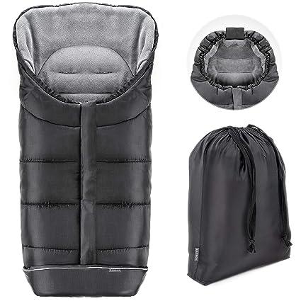 Zamboo Saco de invierno Universal para cochecito y silla de paseo | Protección antideslizante, forro polar térmico Deluxe, capucha tipo momia, ...