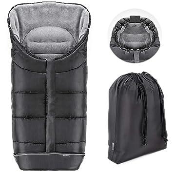 Zamboo Saco de invierno Universal para cochecito y silla de paseo | Protección antideslizante, forro polar térmico Deluxe, capucha tipo momia, reflectores y ...
