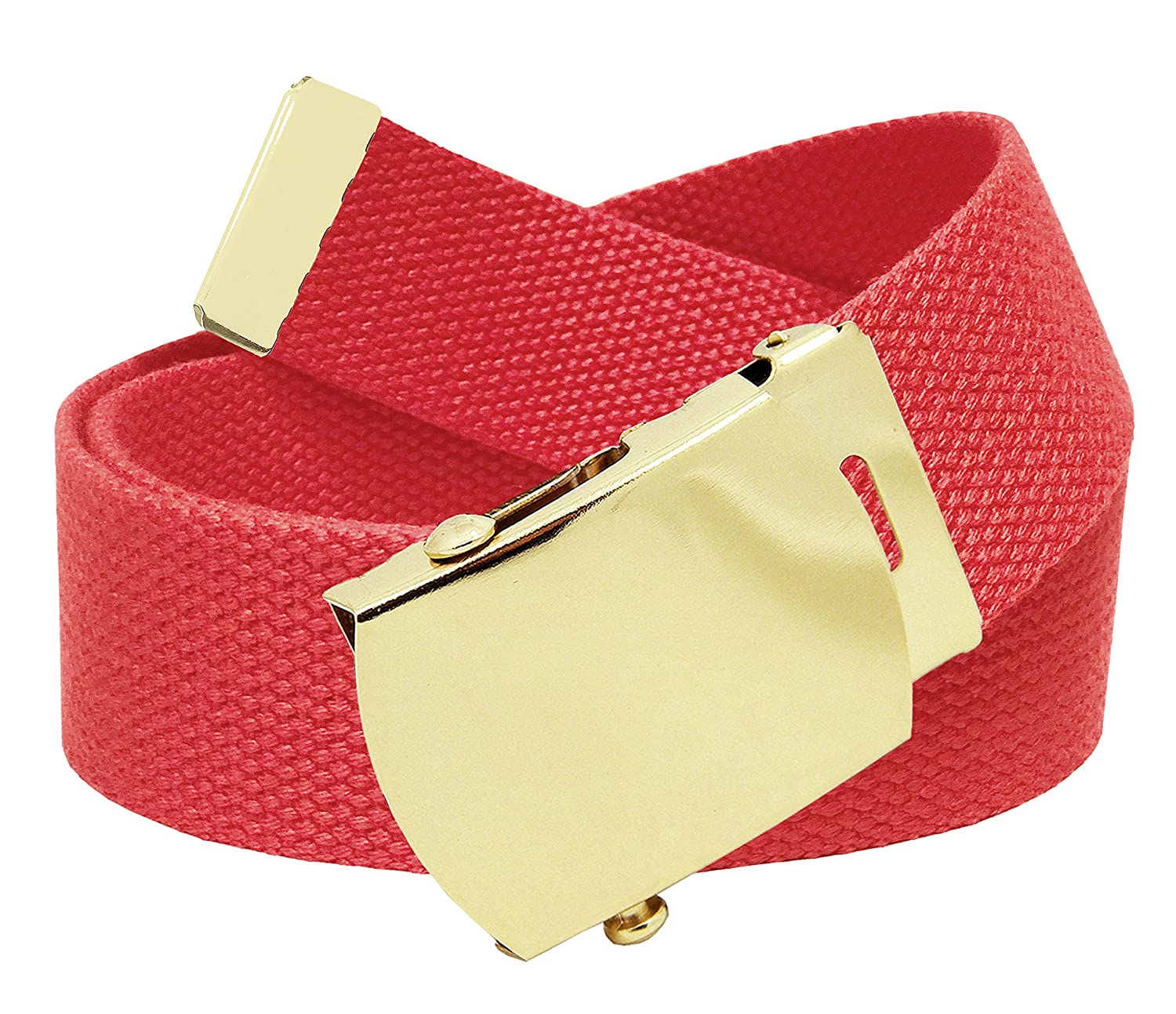 Amazon.com  Cut to Fit Men s Canvas Web Golf Belt with Gold Brass Slider  Buckle Size Up to 70