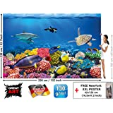 Tapiz de foto Acuario Mural Decoración Mundo submarino colorido ...