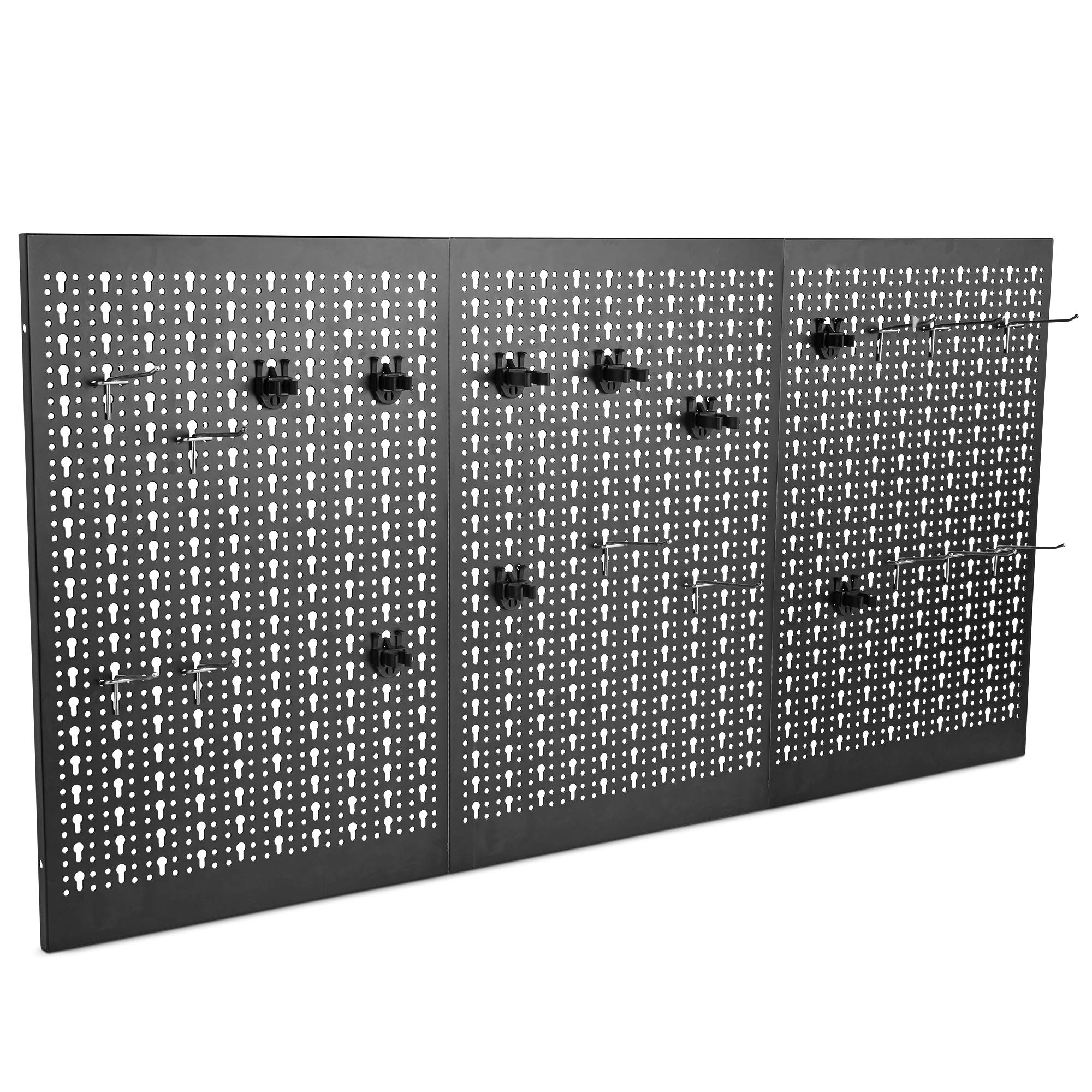 VonHaus 24 Piece Wall Mounted Metal Pegboard Panel, Hook Set - Tool Organizer Garage Storage System with 3X Black Steel Panels and 21 Hook Accessories (Mounting Hardware is Not Included)