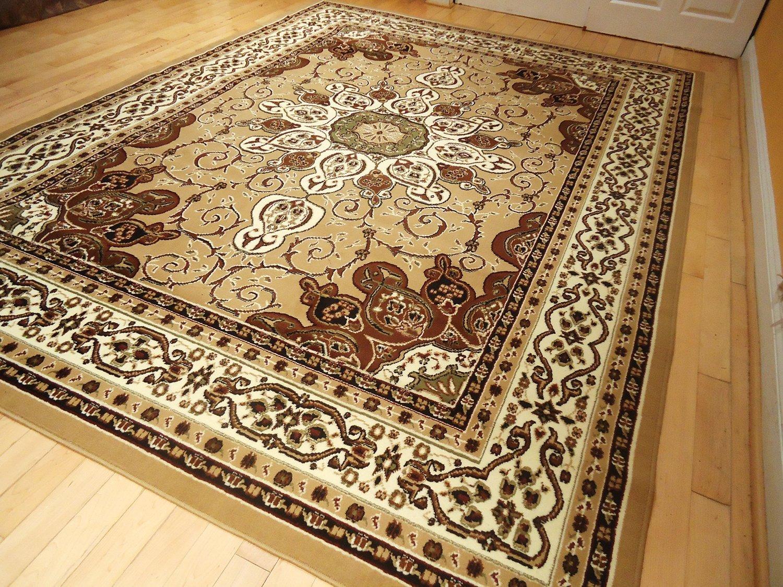 Amazon.com: New Persian Style Rug 5u0027x8u0027 Beige Brown Rug 5x7 Area Rug Living  Room Carpet Floor Rugs Gold Black Green Brown Rug (Medium 5x8): Kitchen U0026  Dining