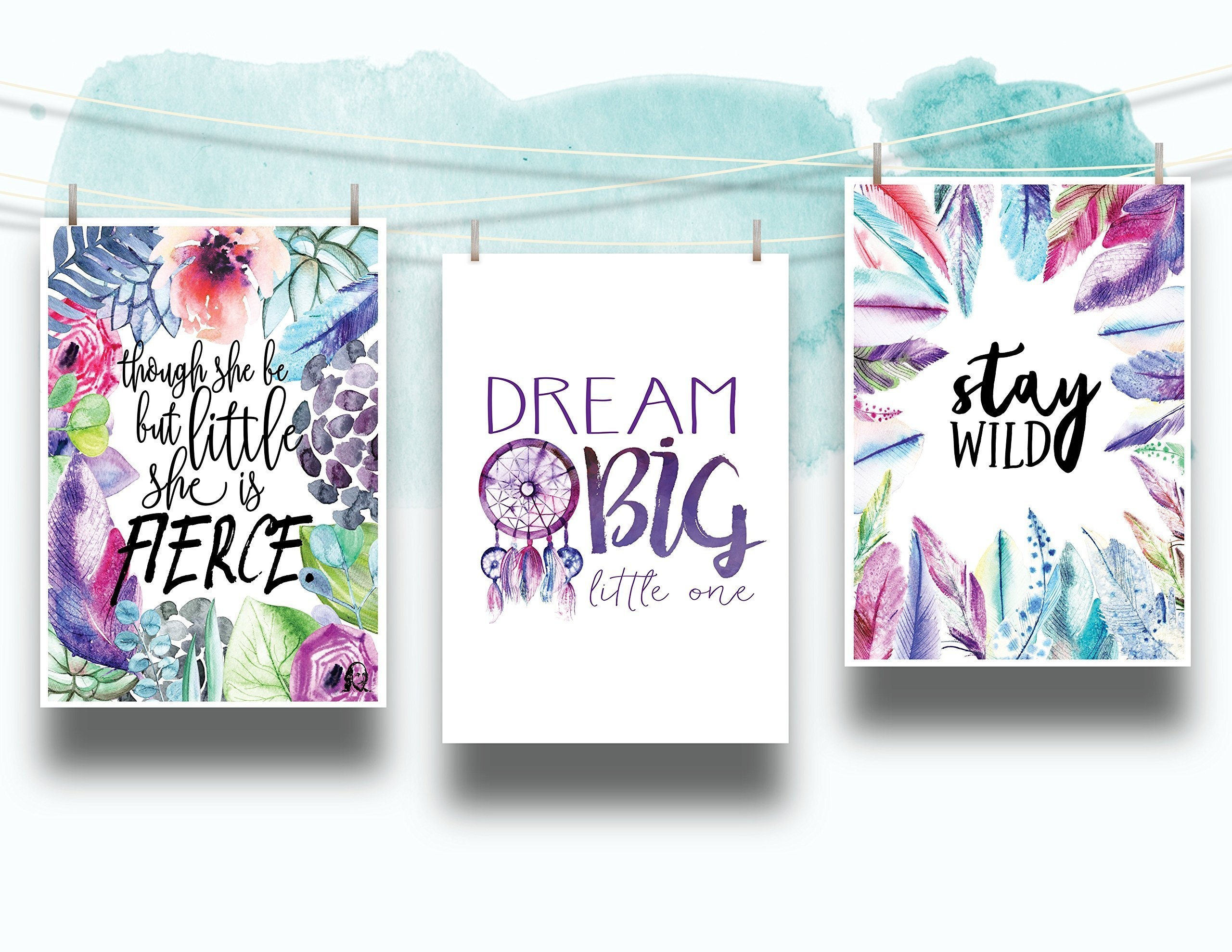 Set of 3 Feathers Flowers and Dreamcatcher Nursery Cardstock Prints - 8.5 x11'' ''Though She Be But Little She Is Fierce'', ''Dream Big Little One'', ''Stay Wild'' by June & Lucy