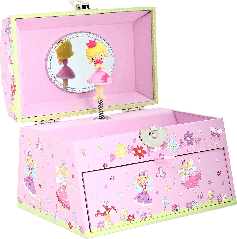 Joyero musical con hadas de Lucy Locket para niños - Caja de música para niños de color rosa brillante con asa de cuentas.