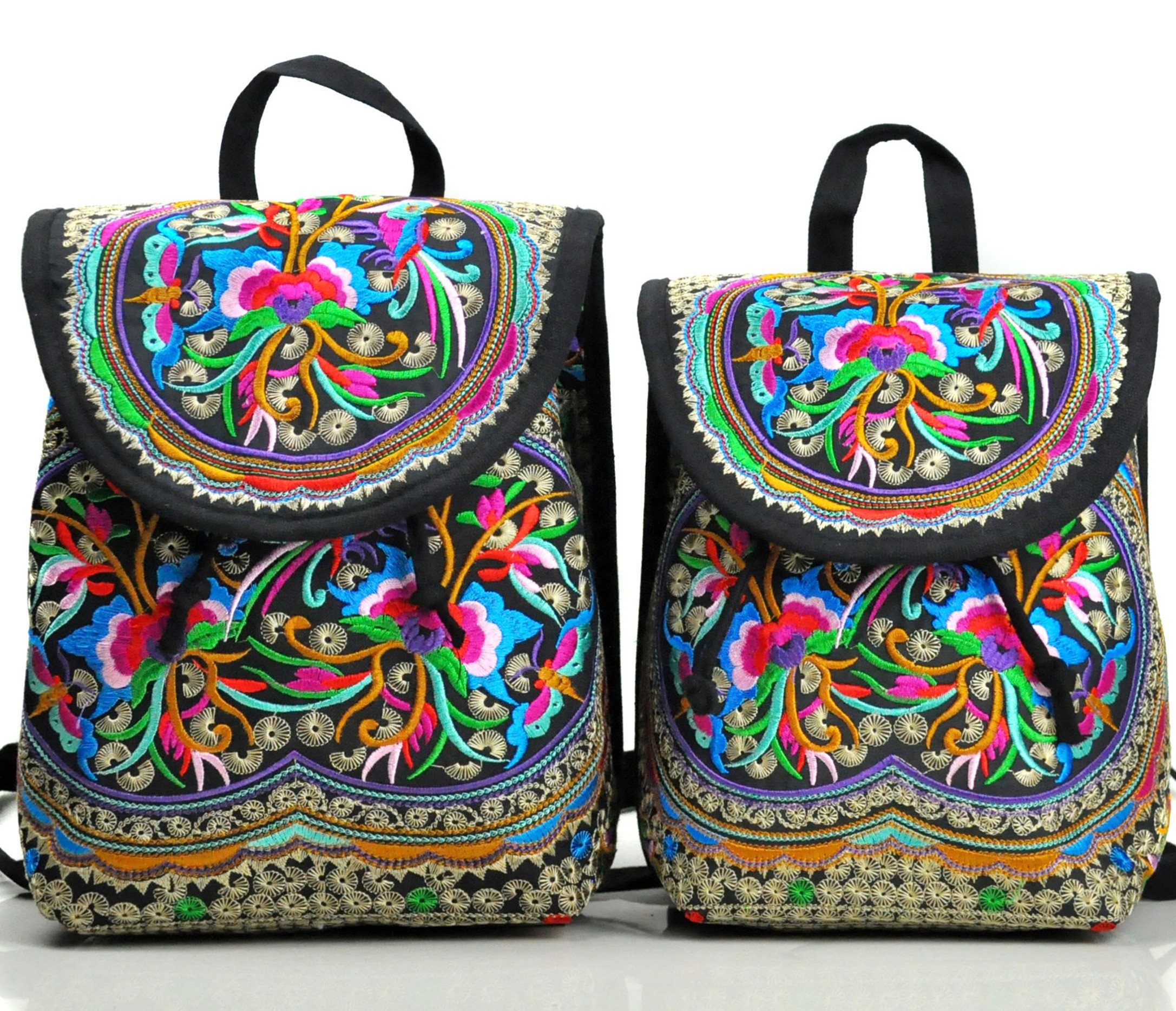 Goodhan Embroidery Backpack for Women Girls, 2 Pack Shoulders Bag for Mom and Child