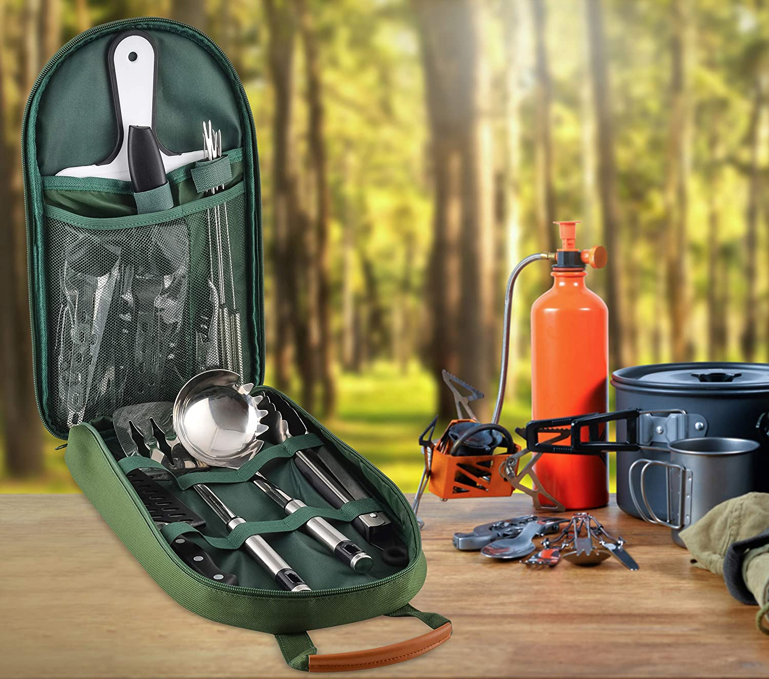 Onyx Outfitters Camping Kitchen Utensil Set and Outdoor Living Travel BBQs 27+ Piece Stainless Steel Outdoor Camping and Grilling Utensil Kit for Hiking RVs Picnics