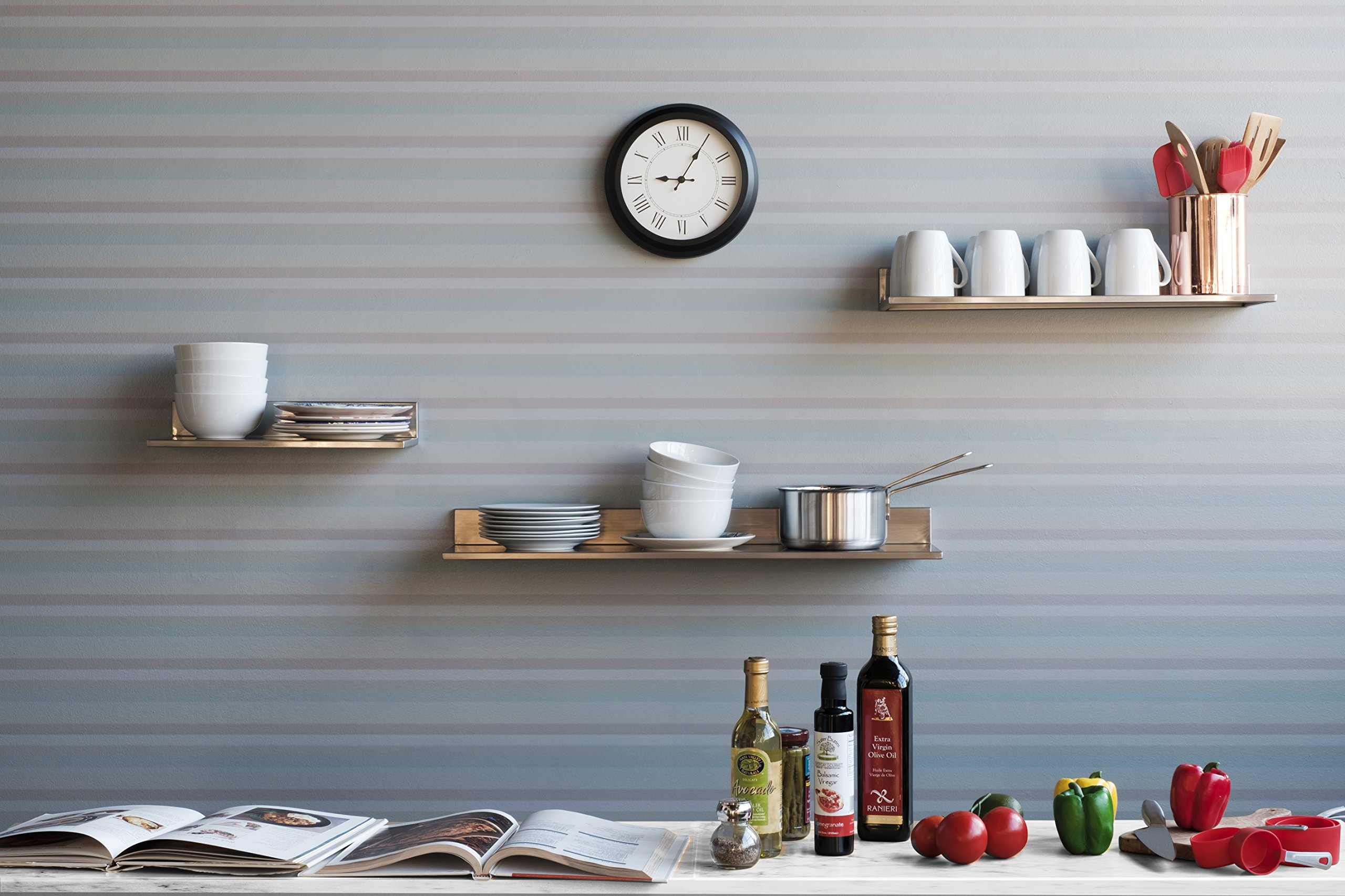 Stainless Steel Wall Mount Commercial and Home Use Premium Quality 30.50 Inches Kitchen Floating Shelves Set of 2 Silver by Fasthomegoods (Image #2)