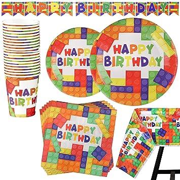 82 Piezas – Vajilla de Ladrillos Bloques de Construcción Desechable – Accesorio para Celebración de Fiesta de Cumpleaños - Pancarta, Platos, Vasos, ...