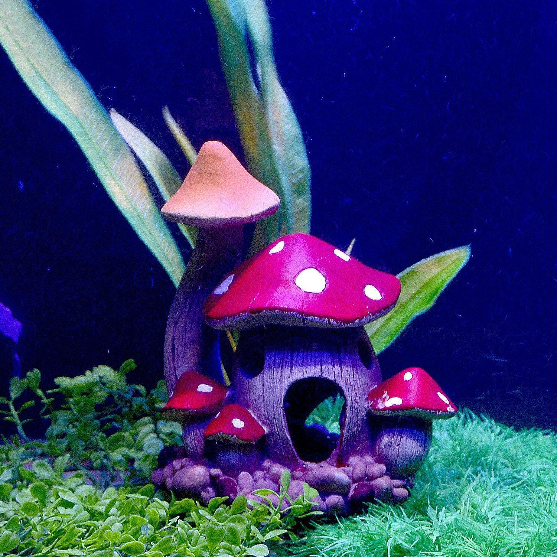 Mushroom House Resin Ornament Decoration Fish Tank Aquarium Ornament