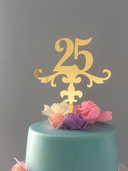 Amazon Com Shinybeauty Cake Topper Birthday 25th Gold Happy