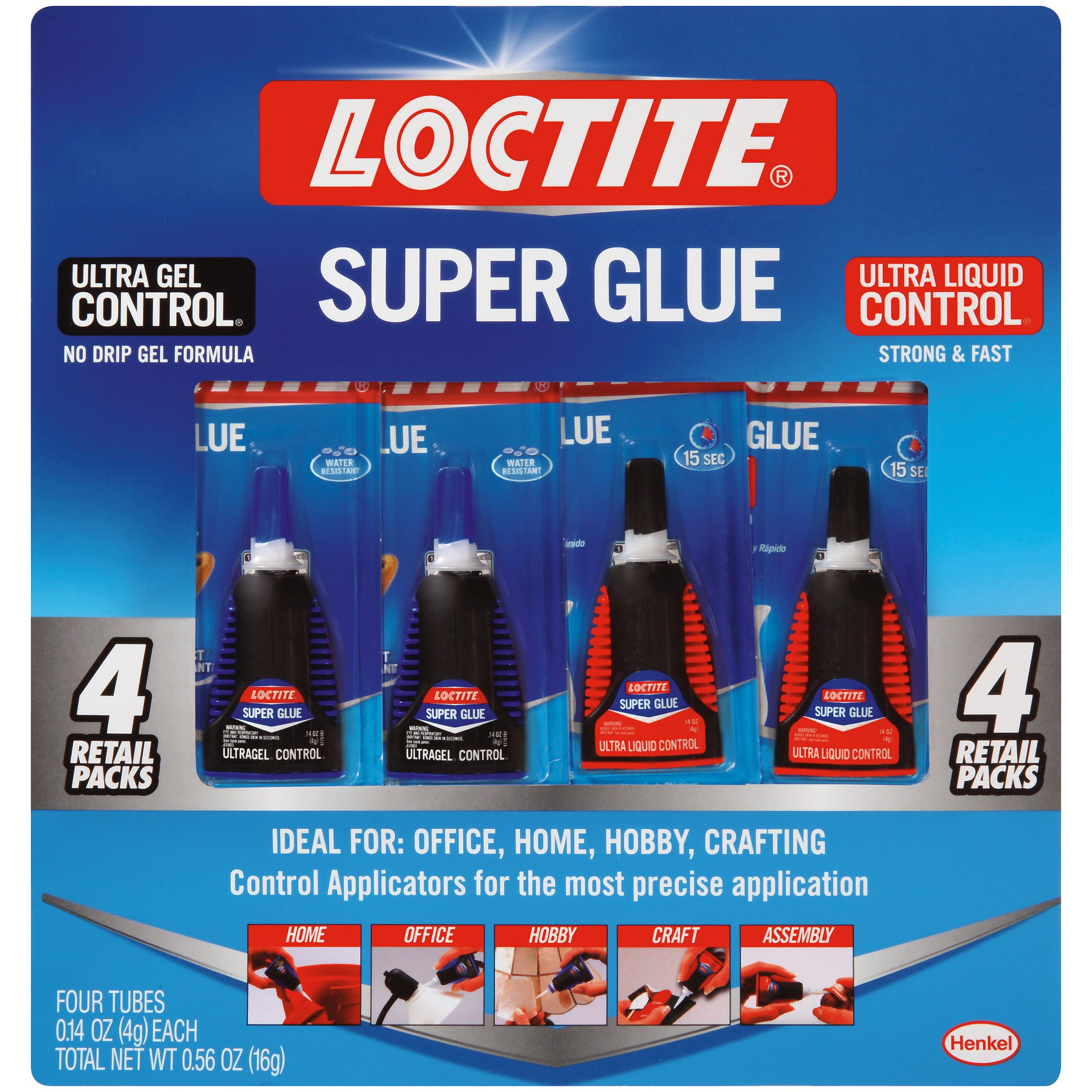 Loctite 2002988 Super Glue Control Gel and Ultra Liquid 4 g Bottles (Pack of 4), 4 Pack, 4 Piece by Loctite
