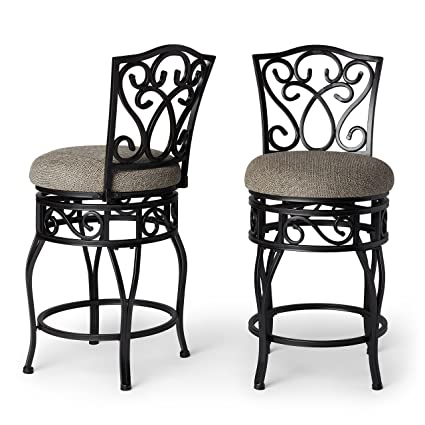 Pleasant Classic Armless 24 Inch Metal Frame Round Seat Swivel Counter Stools Set Of 2 Black Ncnpc Chair Design For Home Ncnpcorg
