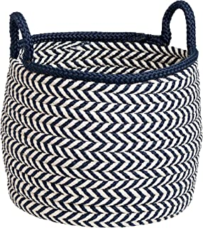 """product image for Colonial Mills Preve Basket, 15""""x15""""x15"""", White & Navy"""