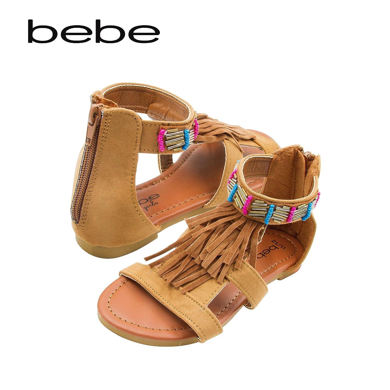 bebe Girls Microsuede Gladiator Sandal with Fringe and Beading 05SA11106