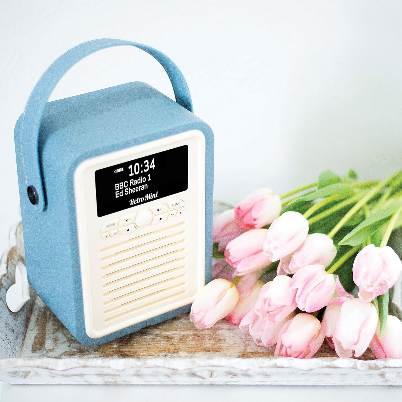 Bleu avec FM Bluetooth et r/éveil Radio num/érique VQ Retro Mini DAB /& DAB