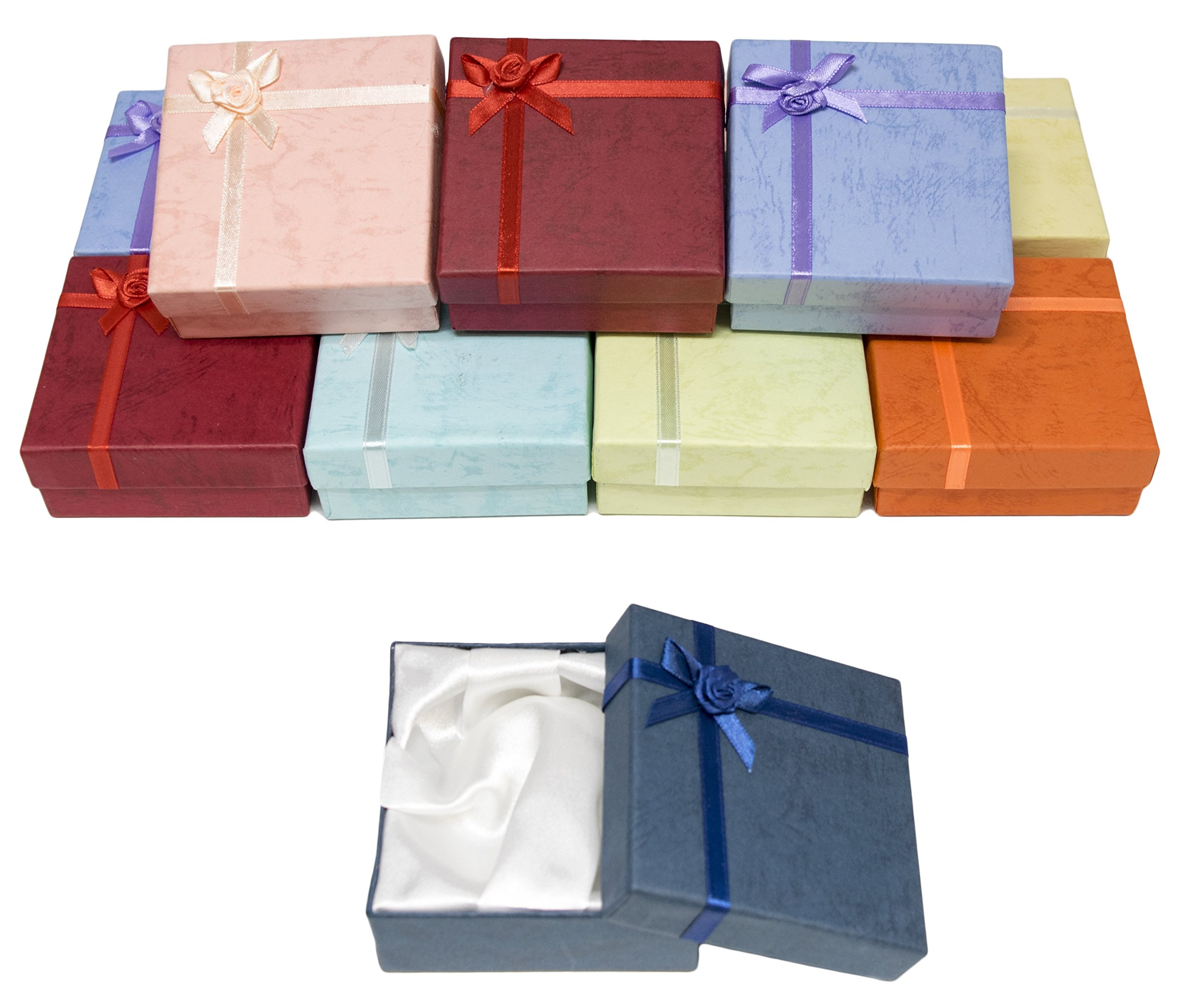 Novel Box Cardboard Jewelry Bangle Gift Boxes With Rosebug Bows in Assorted Colors 3.5X3.5X1'' (Pack of 12) + NB Cleaning Cloth