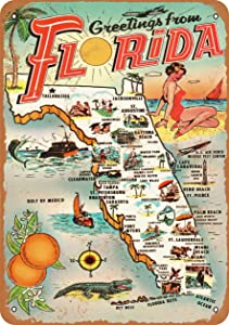 AMELIA SHARPE Vintage Retro Collectible tin Sign - 1954 Greetings from Florida -Wall Decoration 12x8 inch Poster Home bar Restaurant Garage Cafe Art Metal Sign Gift
