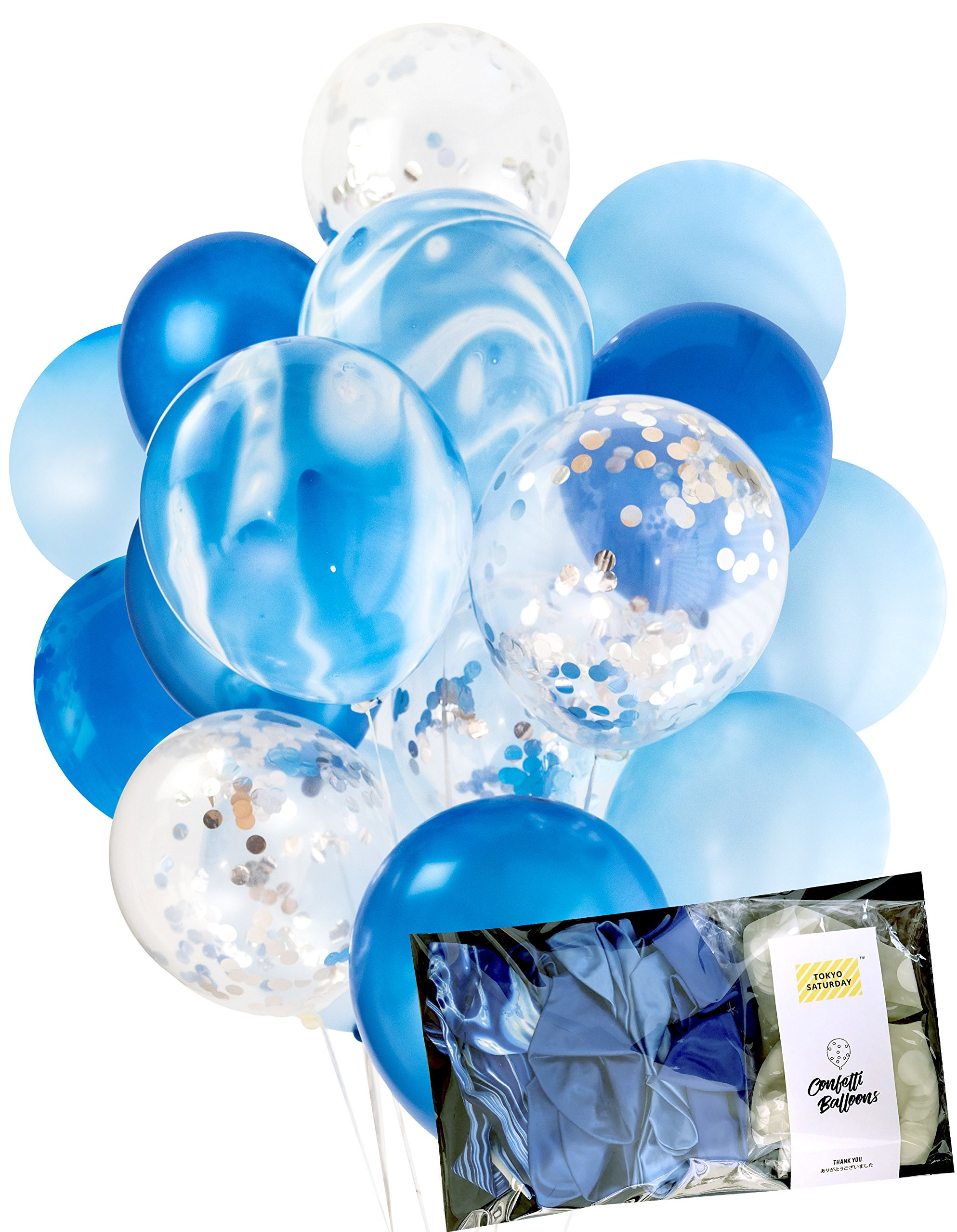 Modern Blue and Silver Party Decoration Marble Confetti Balloons (Thickened 12'' 20pcs, Ready To Inflate) for Wedding Party, Birthday Party, Photobooth, Backdrop, Arch (Blue Marble) - by TOKYO SATURDAY