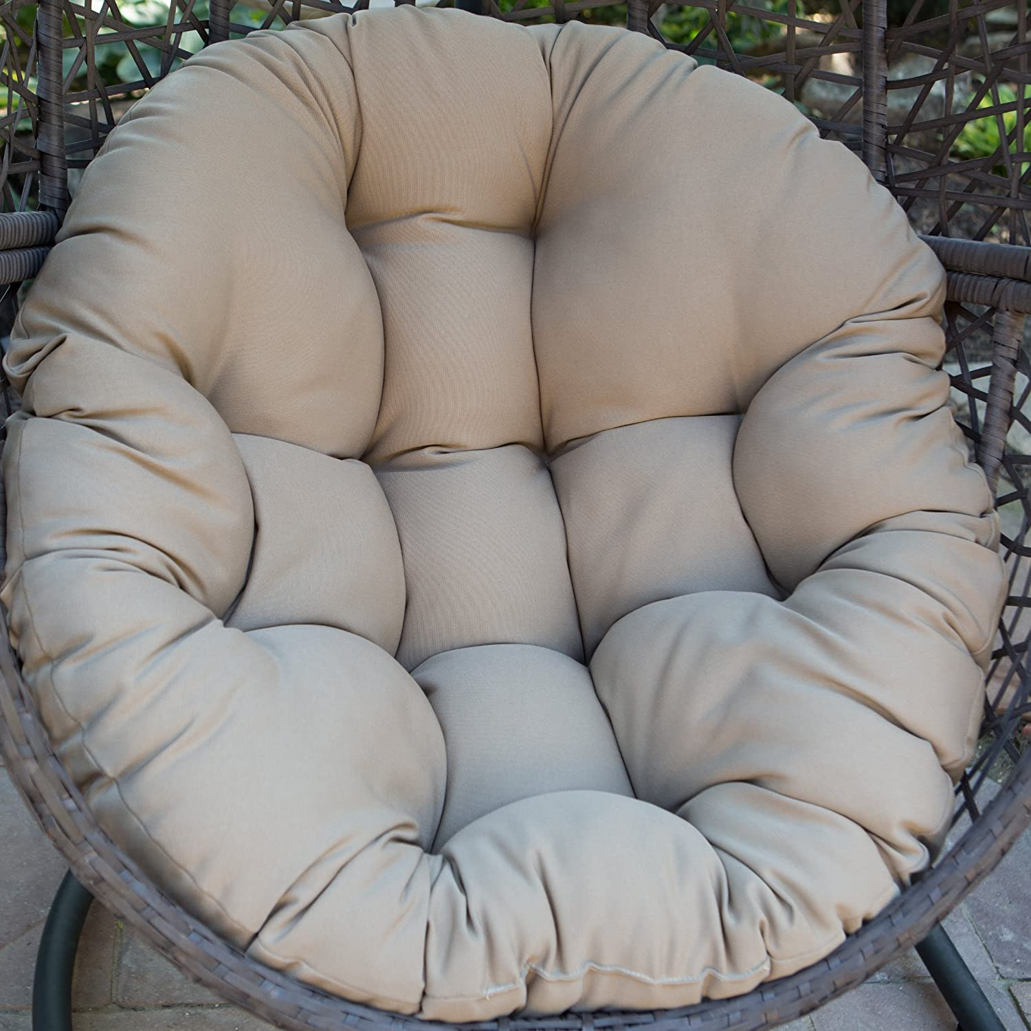 Amazon.com : Resin Wicker Espresso Hanging Egg Chair With Tufted Khaki  Cushion And Stand : Garden U0026 Outdoor