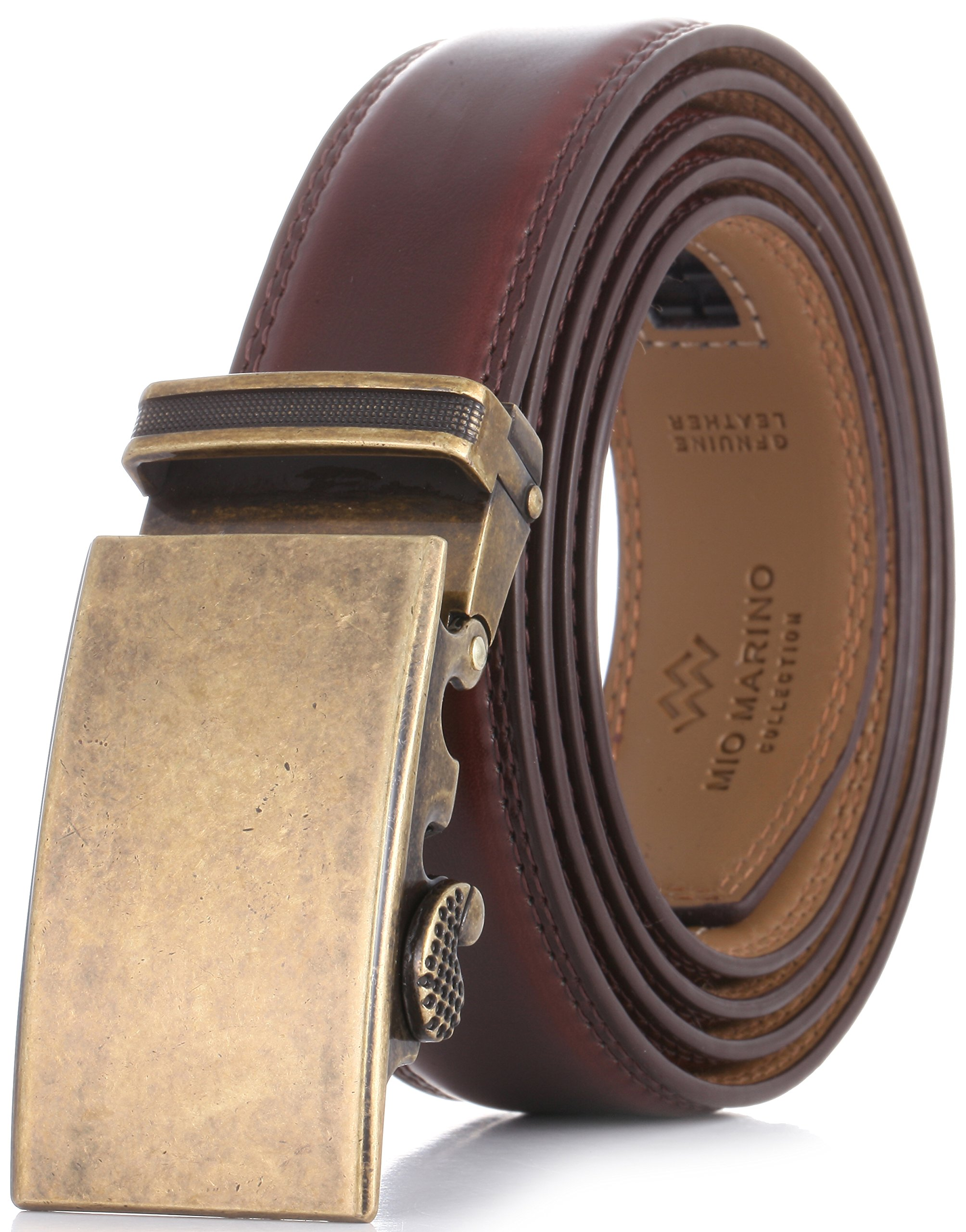 Marino Men's Genuine Leather Ratchet Dress Belt With Automatic Buckle, Enclosed in an Elegant Gift Box - Mahogany - Adjustable from 28'' to 44'' Waist by Marino Avenue