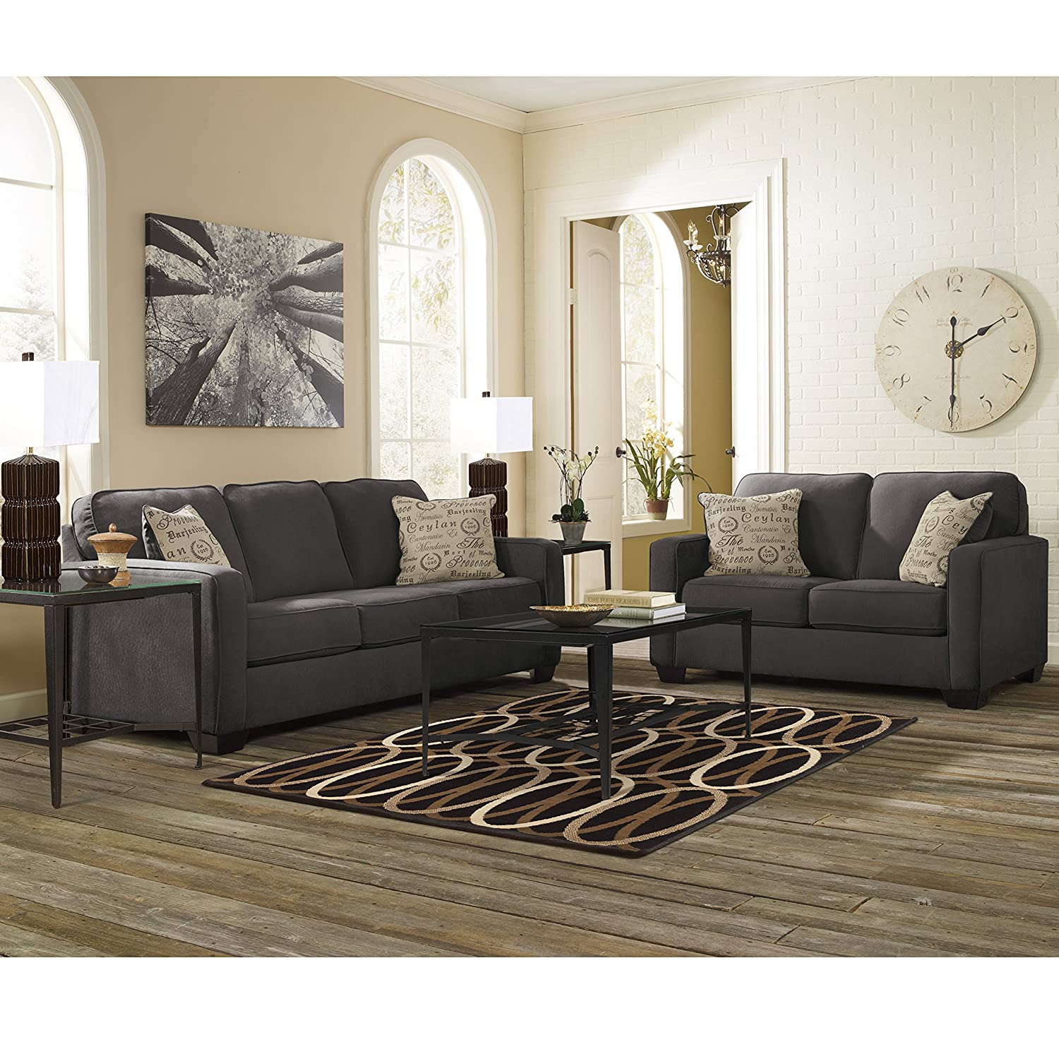 Amazon com flash furniture signature design by ashley alenya living room set in charcoal microfiber kitchen dining