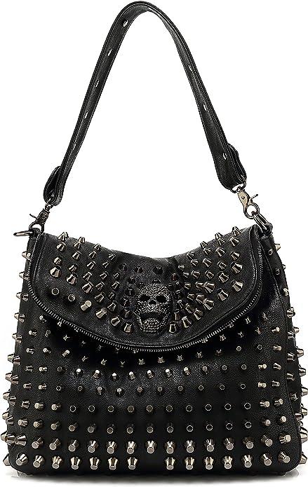 Goth Vegan Studded Skull Bag