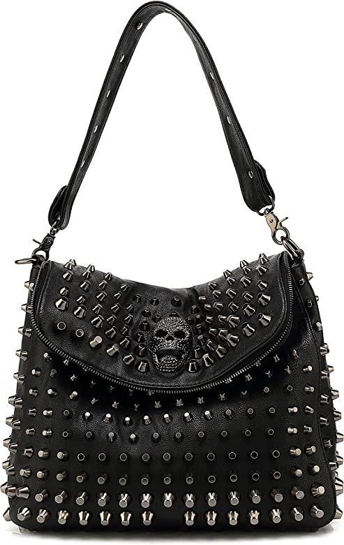 aad4e409cf8da0 Scarleton Large Studded Skull Shoulder Bag for Women, Vegan Leather Punk  Rock Rivet Crossbody Bag