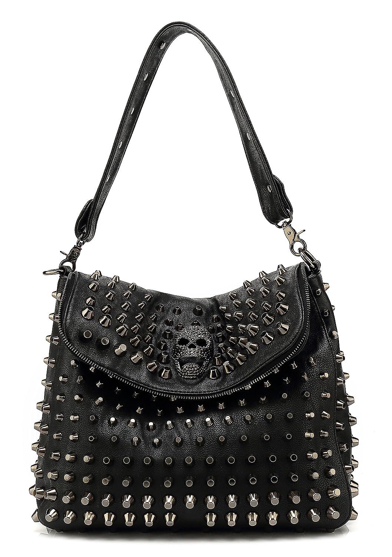 Amazon.com  Scarleton Studded Skull Shoulder Bag H141701 - Black  Shoes ac8c9c444e