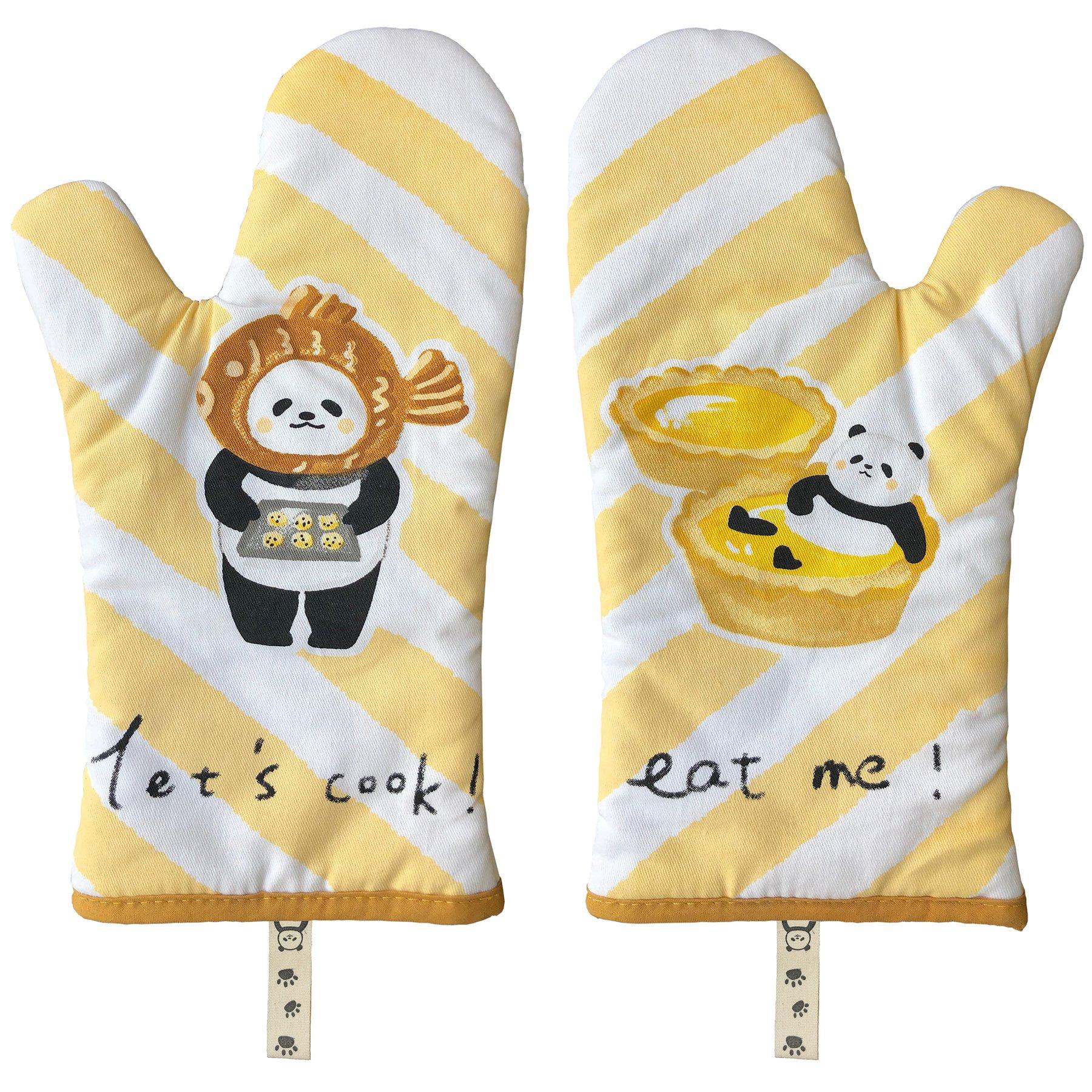 GREVY Oven Mitts Anti-Heat Kitchen Gloves 12'' Panda Bear Design Set of 2 (Pure Cotton Twill)