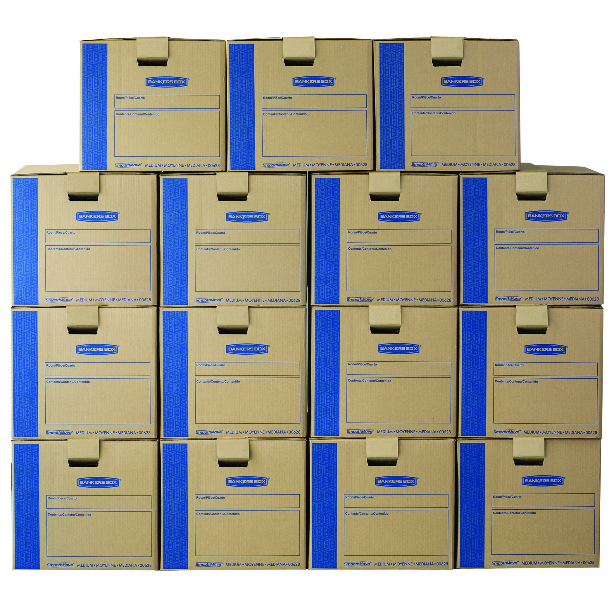 Bankers Box SmoothMove Prime Moving Boxes, Tape-Free, FastFold Easy Assembly, Handles, Reusable, Medium, 18 x 18 x 16 inches, 15 Pack (0062805)