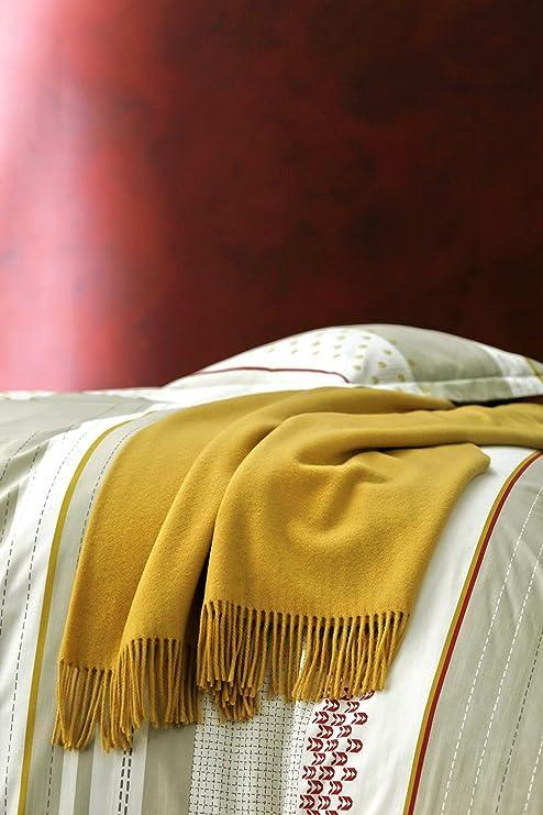 7918732c0126 Blanc des Vosges Cuba Plaid Laine Mérinos Jaune 170 x 130 cm  Amazon.fr   Cuisine   Maison